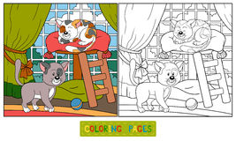 Coloring book (cats) Stock Photos