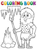 Coloring book cave man theme 1 royalty free illustration