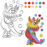 Coloring book with cheerful clown - vector Stock Images