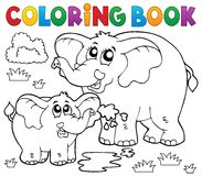 Coloring book cheerful elephants Stock Image