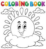 Coloring book cheerful sun theme 1 Stock Images