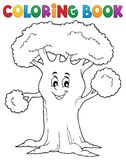 Coloring book cheerful tree theme 1 royalty free illustration