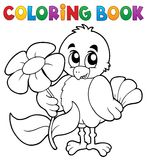 Coloring book chicken with flower Stock Images