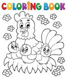 Coloring book chicken theme 1 stock illustration