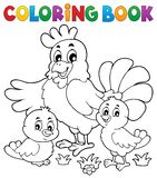 Coloring book chickens and hen theme 1 stock illustration