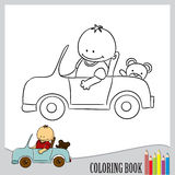 Coloring book - child in car, vector. Boy in a car with teddy, coloring book, vector Stock Photography
