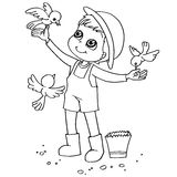 Coloring book child feeding birds vector Royalty Free Stock Images