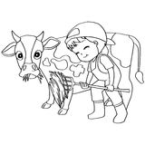Coloring book child feeding cow vector Royalty Free Stock Images