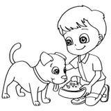 Coloring book child feeding dog vector Royalty Free Stock Photos