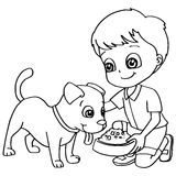 Coloring book child feeding dog vector