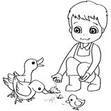 Coloring book  child feeding duck vector Royalty Free Stock Image