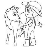 Coloring book child feeding horse vector Stock Photos
