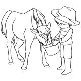 Coloring book child feeding horses vector Royalty Free Stock Photo