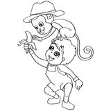 Coloring book child feeding monkey vector Stock Photo
