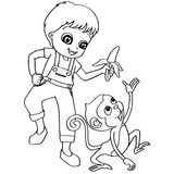 Coloring book child feeding monkey vector Stock Photography