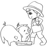 Coloring book  child feeding pig vector. Image of Coloring book  child feeding pigs vector Stock Photography