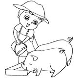Coloring book  child feeding pigs vector Stock Image