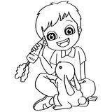 Coloring book child feeding rabbit vector Royalty Free Stock Image