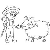 Coloring book child feeding sheeps vector Stock Photo