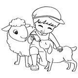 Coloring book child feeding sheeps vector Stock Photos