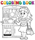 Coloring book child playing theme 1 Royalty Free Stock Photos