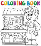 Coloring book child playing theme 2 Royalty Free Stock Photography