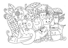coloring book for children and adults, with illustrated vegetables and fruits