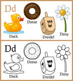 Coloring Book for Children - Alphabet D Stock Images