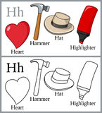 Coloring Book for Children - Alphabet H. Alphabet, letter H. Coloring book for children with cartoon objects: hammer, hat, heart, highlighter, isolated on white royalty free illustration