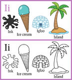 Coloring Book for Children - Alphabet I. Alphabet, letter I. Coloring book for children with cartoon objects: ice cream, igloo, ink, island, isolated on white stock illustration