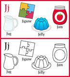 Coloring Book for Children - Alphabet J. Alphabet, letter J. Coloring book for children with cartoon objects: jam, jelly, jigsaw, jug, isolated on white royalty free illustration