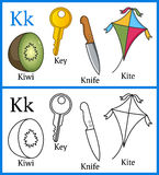 Coloring Book for Children - Alphabet K. Alphabet, letter K. Coloring book for children with cartoon objects: key, kite, kiwi, knife, isolated on white vector illustration