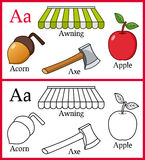 Coloring Book for Children - Alphabet A. Alphabet, letter A. Coloring book for children with cartoon objects: acorn, apple, awning, axe, isolated on white vector illustration