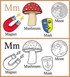 Coloring Book for Children - Alphabet M. Alphabet, letter M. Coloring book for children with cartoon objects: magnet, mask, moon, mushroom, isolated on white stock illustration