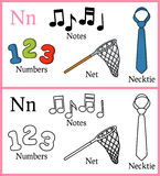 Coloring Book for Children - Alphabet N. Alphabet, letter N. Coloring book for children with cartoon objects: necktie, net, notes, numbers, isolated on white vector illustration