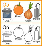 Coloring Book for Children - Alphabet O. Alphabet, letter O. Coloring book for children with cartoon objects: onion, orange, oven, oxygen, isolated on white royalty free illustration