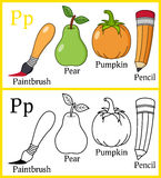 Coloring Book for Children - Alphabet P. Alphabet, letter P. Coloring book for children with cartoon objects: paintbrush, pear, pencil, pumpkin, isolated on royalty free illustration