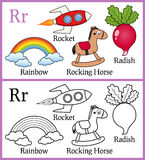 Coloring Book for Children - Alphabet R. Alphabet, letter R. Coloring book for children with cartoon objects: radish, rainbow, rocket, rocking horse, isolated on royalty free illustration