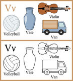 Coloring Book for Children - Alphabet V. Alphabet, letter V. Coloring book for children with cartoon objects: van, vase, volleyball, violin, isolated on white royalty free illustration