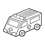 Coloring book for children. Ambulance car vector illustration