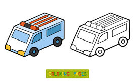 Coloring book for children. Ambulance car Stock Photography
