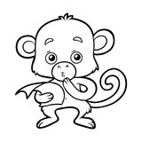 Coloring book, Monkey. Coloring book for children, black and white Monkey stock illustration