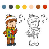 Coloring book, Boy singing a Christmas song Royalty Free Stock Photography