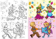 Coloring Book Of Children In Carnival Costumes Royalty Free Stock Image