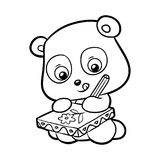 Coloring book, Panda. Coloring book for children, cartoon Panda draws a flower vector illustration