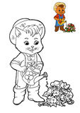 Coloring book for children, Cat gardener Royalty Free Stock Photography