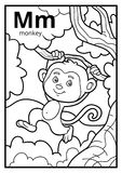 Coloring book, colorless alphabet. Letter M, monkey. Coloring book for children, colorless alphabet. Letter M, monkey vector illustration