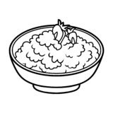 Coloring book for children, Cottage cheese with berries. In a bowl vector illustration