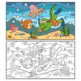 Coloring book for children (crocodile diver, ocean floor) Royalty Free Stock Images