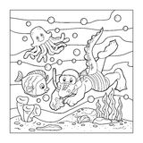 Coloring book for children (crocodile diver, ocean floor) Stock Photo